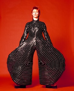 Striped bodysuit for Aladdin Sane tour, 1973. Design by Kansai Yamamoto.