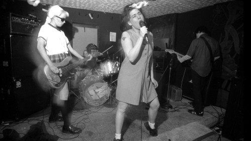 Bikini Kill performs in Washington, D.C., in the 1990s.